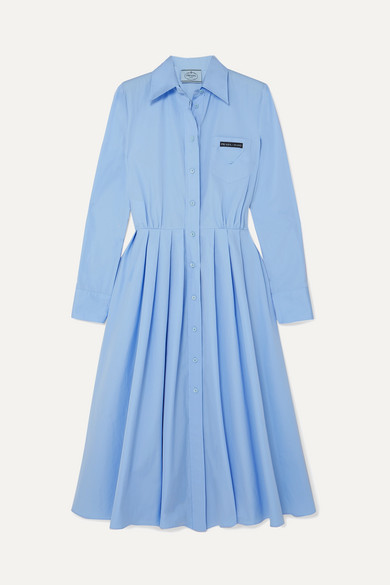 Prada Pleated Cotton Shirt Dress - Blue