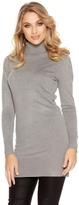 Quiz Grey Light Knit Embellished Sleeve Turtle Neck Jumper Dress