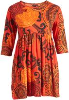 Aller Simplement Orange & Black Arabesque A-Line Dress - Plus Too