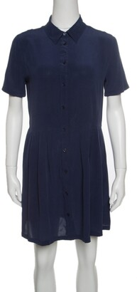 Equipment Navy Blue Washed Silk Naomi Shirt Dress S