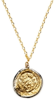 """Kenneth Jay Lane Women's 32"""" Satin Gold W/ Silver Lining Coin Pendant Necklace"""
