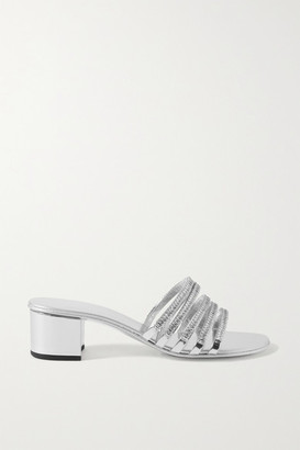 Giuseppe Zanotti Crystal-embellished Metallic Leather Mules - Silver