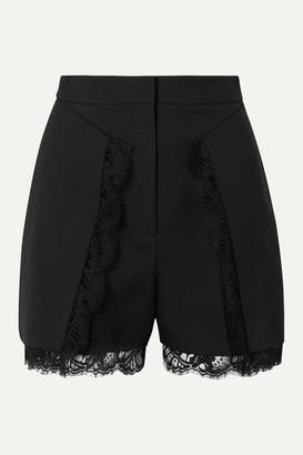 Alexander McQueen Lace-trimmed Wool-blend Shorts - Black