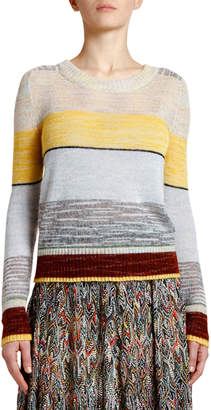 Missoni Elbow-Patch Wide-Striped Mohair Sweater