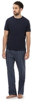 Maine New England Big And Tall Navy Striped Loungewear Set