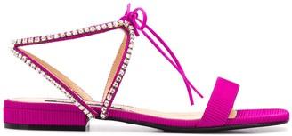 Sergio Rossi Ribbed Square-Tone Sandals