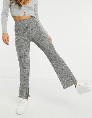 New Look co-ord rib marl wide leg trousers in dark grey