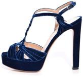 Francesco Russo Velvet Platform Heel in Navy Blue