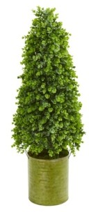 "Nearly Natural 41"" Eucalyptus Cone Topiary Artificial Tree in Metal Planter (Indoor/Outdoor)"