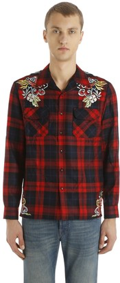 Gucci Embroidered Checked Wool Shirt