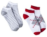 Xhilaration Juniors 2-Pack Valentine's Day Low Cut Socks - Assorted Colors/Patterns