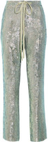Rosie Assoulin A Fish Called Wanda Iridescent Sequined Silk-chiffon Wide-leg Pants - Mint