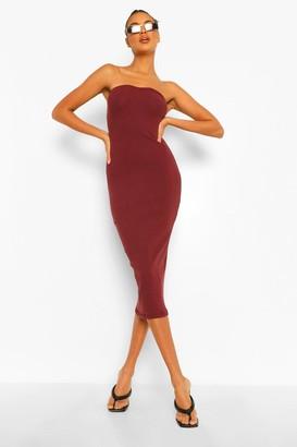 boohoo Ribbed Sweet Heart Neck Strapless Midaxi Dress