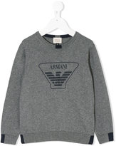 Armani Junior logo print sweatshirt - kids - Cotton/Wool - 4 yrs