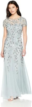 Adrianna Papell Women's Petite Floral Beaded Godet Long Dress