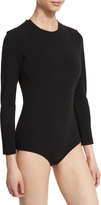 SOLACE London Keziah Long-Sleeve Jersey Bodysuit, Black