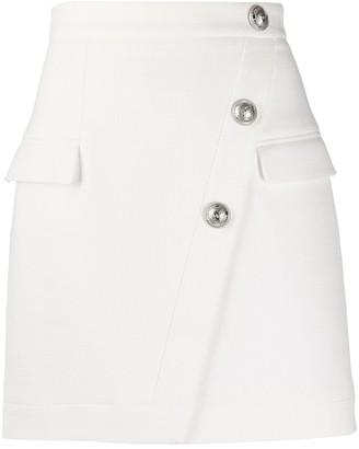 Balmain High-Waisted Button-Detail Skirt