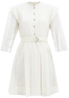 Chloé Logo-embroidered Silk-voile Mini Dress - White
