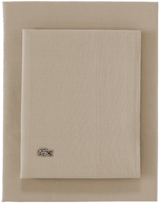 Lacoste Solid Washed Percale Sheet Set - Queen