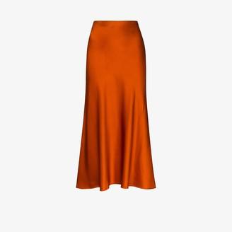 Rosetta Getty Satin Slip Midi Skirt