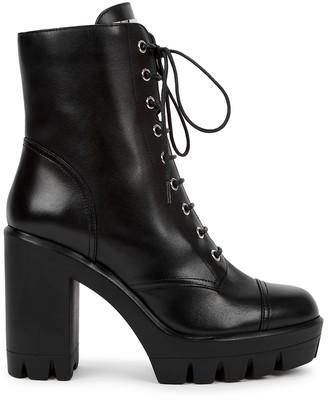 Giuseppe Zanotti 115 Black Leather Platform Ankle Boots