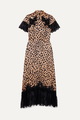 Saloni Venyx Ryder Lace-trimmed Leopard-print Silk-satin Midi Dress - Black