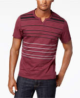 INC International Concepts Men's Split-Neck Striped T-Shirt, Created for Macy's