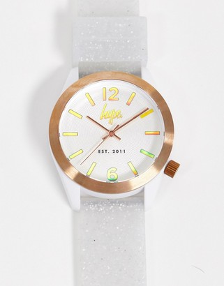 Hype white and glitter strap watch