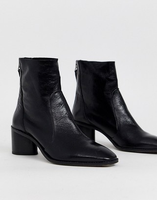 Office Achillies inlined leather kitten heel ankle boot-Black