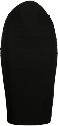 Loulou Sheer-Panel Pencil Skirt