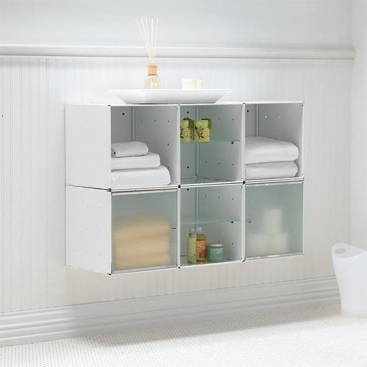 Container Store Wall-Mounted Cube Cabinet White Enamel