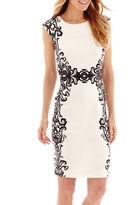 Liz Claiborne Cap-Sleeve Scroll Mirror Print Scuba Knit Sheath Dress