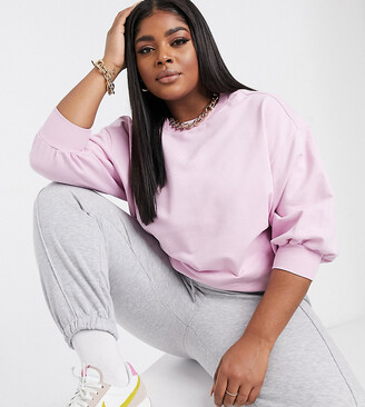 ASOS DESIGN Curve boxy sweatshirt with wide sleeve in pink