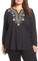 Lucky Brand Plus Size Women's Embellished Bib Top