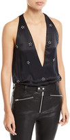CAMI NYC Jordana Embellished Silk Bodysuit