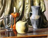 Canvas Art USA Still Life with Candle and Earthenware Pots by Roger Fry - Premium Canvas Print