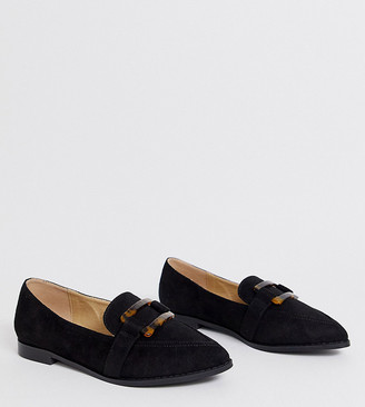 Raid Wide Fit Nylah black loafers with tortoiseshell trim
