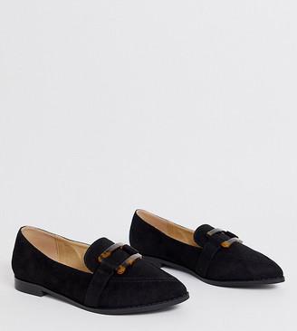 Raid Wide Fit RAID Wide Fit Nylah black loafers with tortoiseshell trim