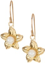 Candela 10K Yellow Gold 3mm Freshwater Pearl Accent Flower Dangle Earrings