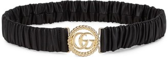 Gucci Elastic Leather Belt With Double G