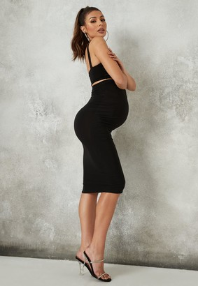 Missguided Black Maternity Slinky Square Neck Top And Midi Skirt Co Ord Set