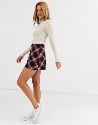 Miss Selfridge bias cut mini skirt in check-Purple