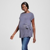 MaCherie Stripe Short Sleeve Side Bow Tie Top Blue MaCherie Maternity