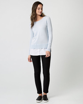 Le Château Stripe Knit & Woven 2-in-1 Sweater