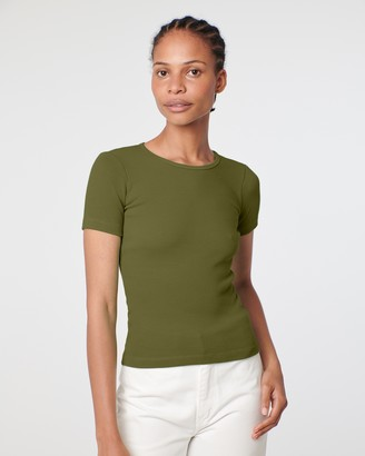 Arnsdorf - Women's Green Short Sleeve Tops - Organic Fitted Rib Tee - Size One Size, S at The Iconic