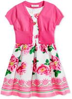 Bonnie Jean 2-Pc. Cardigan & Floral-Print Dress Set, Big Girls