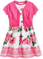 Bonnie Jean 2-Pc. Cardigan & Floral-Print Dress Set, Little Girls