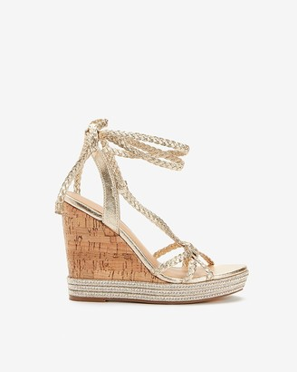 Express Metallic Woven Tie Cork Heel Wedge Sandals