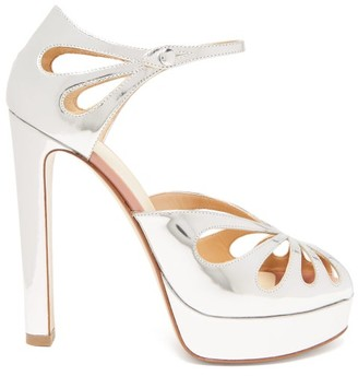 Francesco Russo Mary Jane Platform Metallic-leather Sandals - Silver