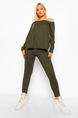 boohoo Petite Soft Rib Slash Neck and Legging Co-Ord
